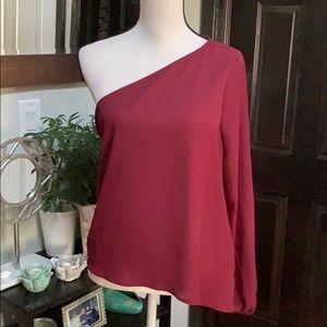 Charlotte Russe One shoulder chiffon blouse